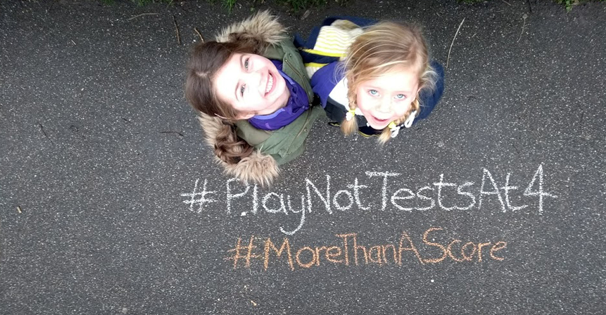 Play not tests at 4. Join our chalk protest.