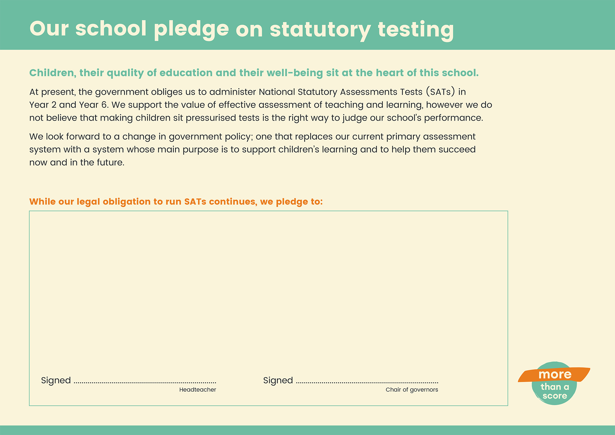 The More Than A Score Pledge: Schools sign up